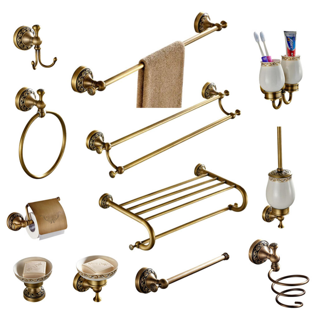 Bathroom Accessories Set Antique Brass Collection Carved Bathroom Products Wall Mounted Brass Bathroom Hardware Set