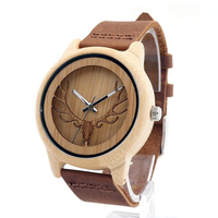 Hollowed Environmental Sandalwood Watch Bamboo Deer Head Men's Watches Fashion Wooden Couple Quartz Wristwatches Sale