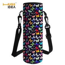 HUGSIDEA Large Butterfly Print Water Bottle Cover Insulation Drink Bottle Carrying Pouch Bag Sport Water Bottle Sleeve Neoprene double deck water resistant cube carrying bag pouch black