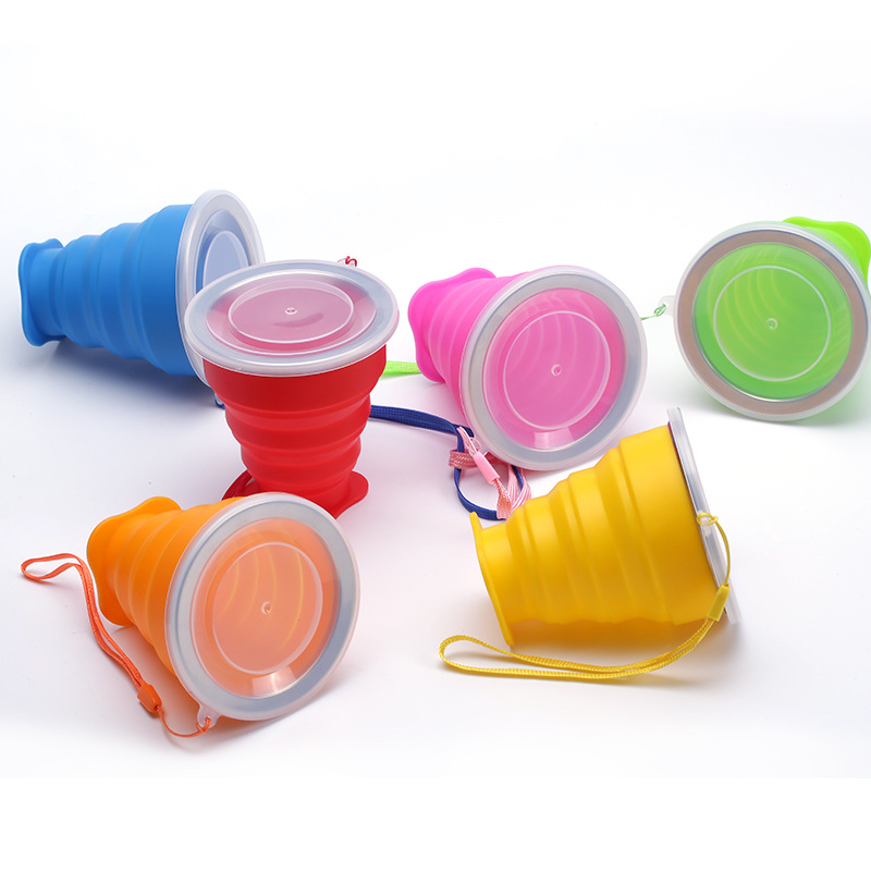 250ML Travel Folding Water Cup Stainless Steel Silicone Folding Cups Telescopic Collapsible Coffee Cups Outdoor Sport Water Cup