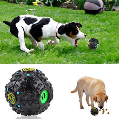 Pet Dog Treat Trainning Chew Sound Food Dispenser Toy Squeaky Giggle Ball