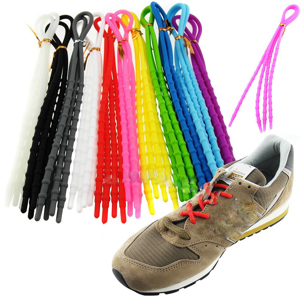 1Pair Fashion Unisex Women Men Athletic Running X-Tie Lazy Shoelaces Easy Soft Elastic Silicone Shoe Lace Strings Cable All Snea
