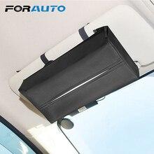 FORAUTO Универсальный Автомобильный солнцезащитный козырек коробка для салфеток держатель из искусственной кожи коробка для салфеток чехол для бумажных Авто Органайзер аксессуары