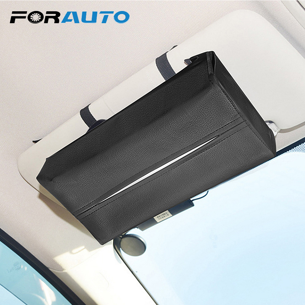 FORAUTO Universal Car Sun Visor Tissue Box Holder PU Leather Tissue Box Cover Case For Paper Auto Organizer Accessories
