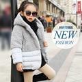 O inverno de 2016 o desgaste das crianças Do Falso casaco de pele das meninas do bebê blusa de algodão cinza crianças