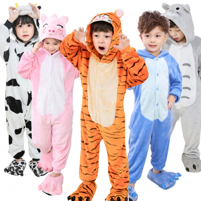 8411d42f63 Baby Boys Girls Pajamas set Autumn Winter Children Flannel Animal Unicorn  Stitch Panda Onesie Sleepwear Pajamas