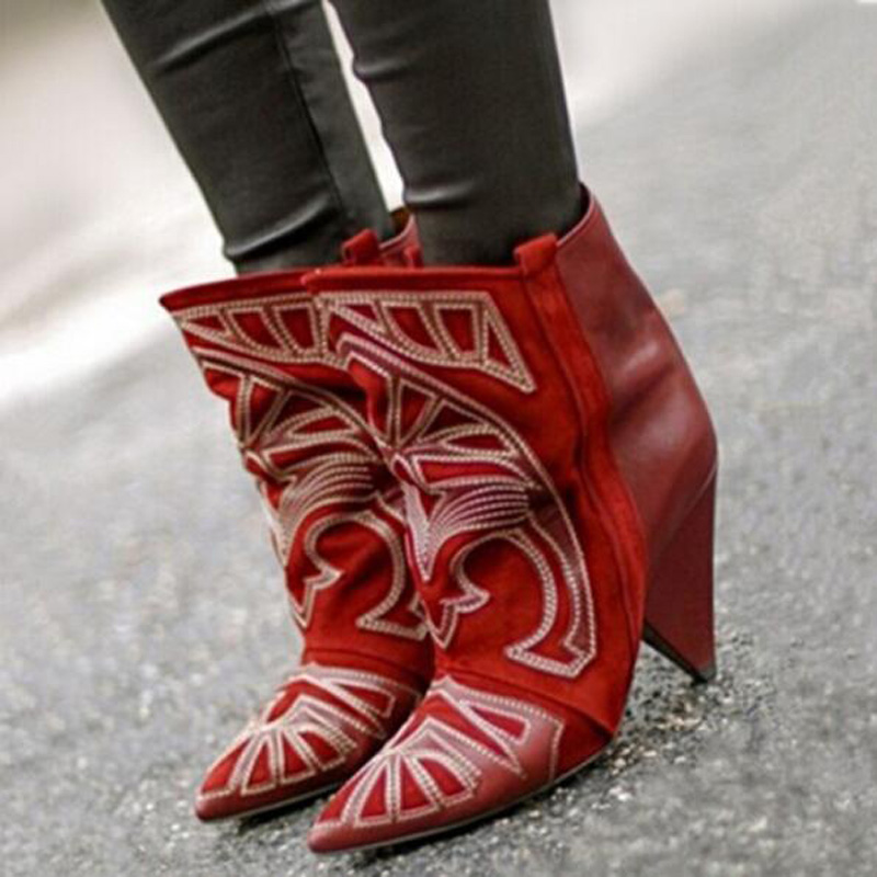 Hot Sale Fashion Botas Mujer Invierno Red Suede Ankle Boots Berry Embroidered Lady Spike Heels Shoe Cowboy Short Boots Women
