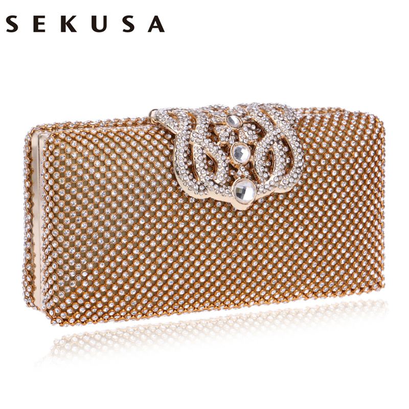 SEKUSA Women Evening Bags Rhinestones Metal Crown Handbags Full Of Diamonds Day Clutches Purse Evening Bags Silver/gold/black sekusa flower rhinestones women handbags red black purple gold chain shoulder bags metal day clutches purse wedding wallets