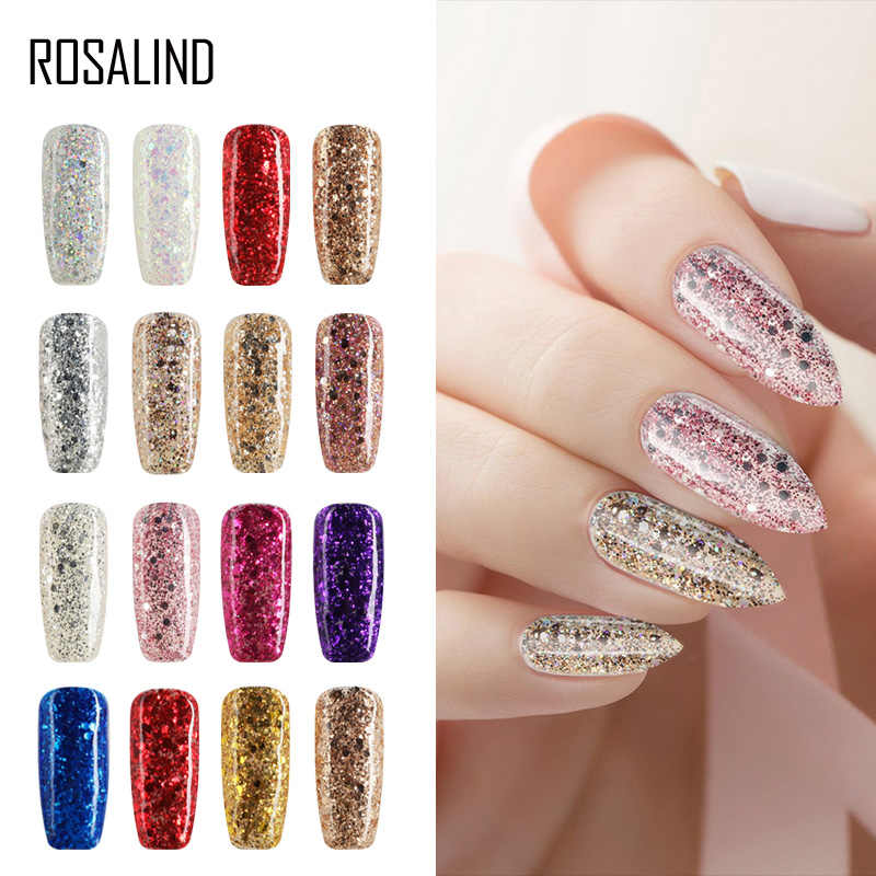 Rosalind Nail Gel Polish Glitter Gel 7 Ml Diamant Lak Soak-Off Uv Lampen Gel Varnish Diy Nail Art primer Set Voor Manicure