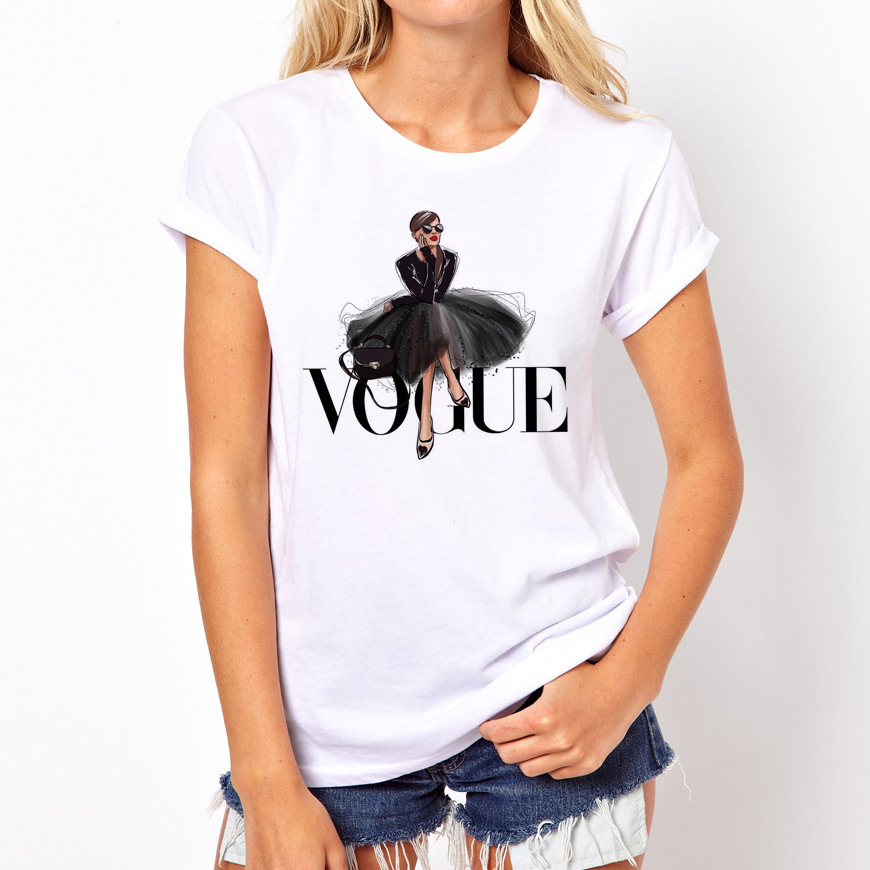 Women VOGUE Printing   T     Shirt   VOGUE Beauty Cotton O-Neck Tops Tees Summer Style Female   T  -  Shirt