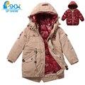 Sp-espectáculo de invierno los niños outwear chaquetas con capucha niños abrigos para 3-7 edad de dos piezas de chaquetas de invierno abrigos abajo y abrigos esquimales 31902