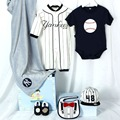 2017New Hot Sales 6Pieces Yankees Team Baby Romper Shoes Hat Sets Play-boy Gift Fashion Newborn Infant Birthday Gift 100% Cotton
