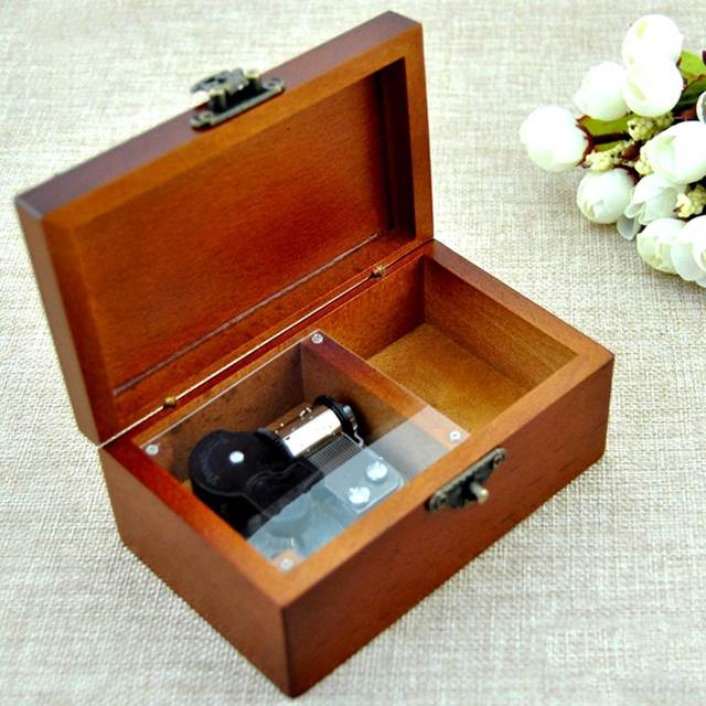 Jewelry Music Box Rectangle Wooden Music Box Vintage Wood Jewelry