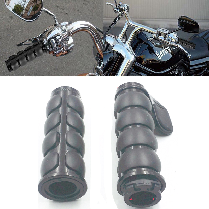 Harley//Kawasaki//Suzuki HTT Chrome Rubber Coil 1 Hand Grips For Most Motorcycles bikes with 1 handlebars
