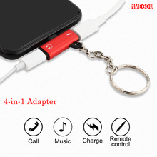 2 In 1 Dual Jack Adapter with Keychain Usb Cable for IPhone