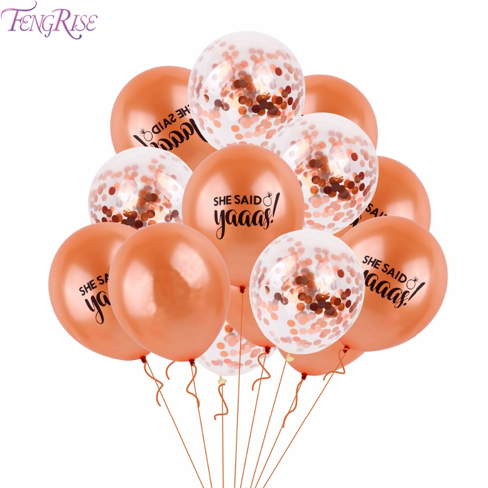 FENGRISE 15PCS Team Bide Balloon Bride Party Decor Rose Gold Sha Said Yaaas Balloons for ...
