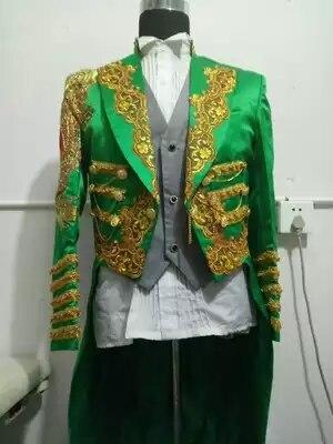 100% réel hommes broderie vert événement/scène performance longue veste swallowtail/tenue de magicien/danse/chanter veste/taille des douanes