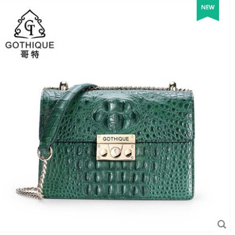 2018 gete  new hot free shipping real  women crocodile handbag inclined one shoulder bag lady  chain buckle women bag female yuanyu 2018 new hot free shipping crocodile women handbag wrist bag big vintga high end single shoulder bags luxury women bag