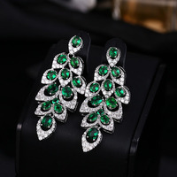Luxury Cubic Zirconia Leaf Shape Long Earrings Vintage Green Stone Water Drop Earrings Women Jewelry White Gold Color