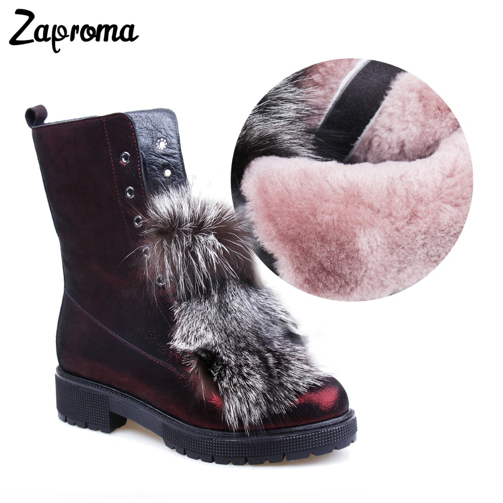 цена на Zaproma New Fashion Genuine Leather Fox Fur Outside Snow Boots Women Super Warm Wool Ankle Boots Zip Lady Winter Shoes