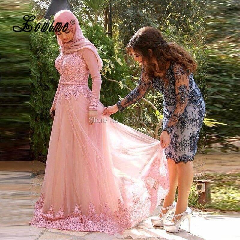 Blush Pink Turca Vestidos Hijab Musulmán Árabe Vestidos de Noche ...