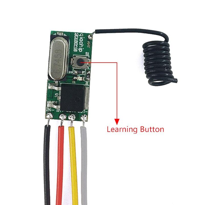 QIACHIP 433 MHz interruptor de Control remoto inalámbrico de RF de relé módulo receptor DC 12 V + 433 MHz RF transmisor para LED controlador de luz