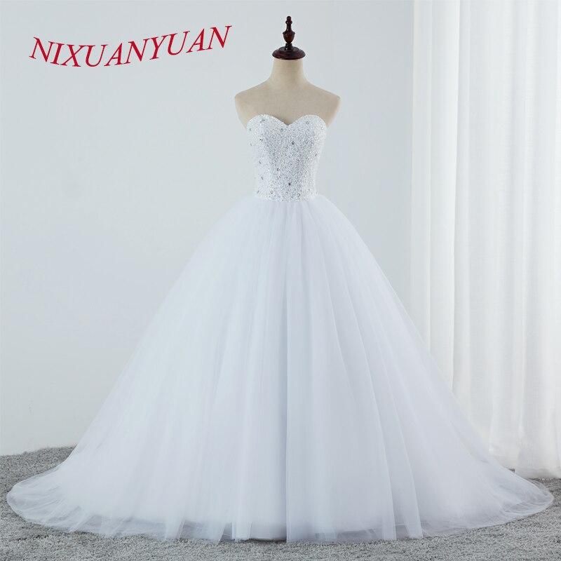 NIXUANYUAN Luxury Beading Ball Gown Wedding Dresses 2019 Sweetheart Plus size Bridal Dresses Simple vestido de