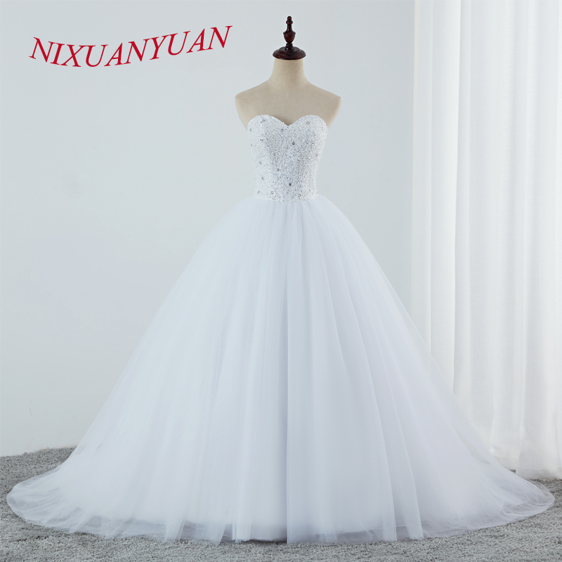 NIXUANYUAN Luxury Beading Ball Gown Wedding Dresses 2019 Sweetheart Plus Size Bridal Dresses Simple Vestido De Novia 2019