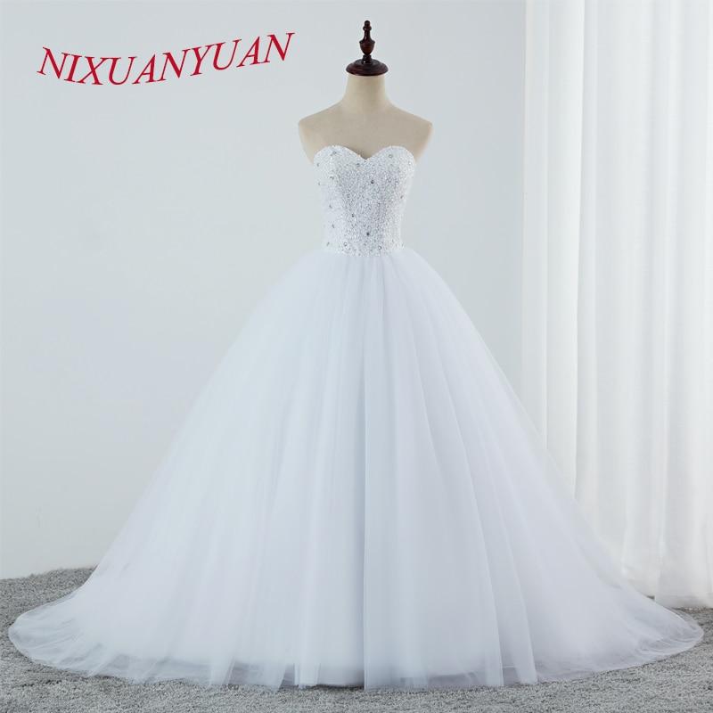 NIXUANYUAN Luxury Beading Ball Gown Wedding Dresses 2019 Sweetheart Plus Size Bridal Dresses Simple Vestido De Novia 2019