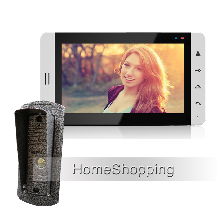 New Home 7 Touch Screen Video Door Phone Intercom Kit + 1 White Monitor + 1 700TVL Metal Waterproof Door Camera FREE SHIPPING 59 1 2in x32 1 4in x86in standard fit shower kit in white acrylic base silver hamrd door left drain decora provantage
