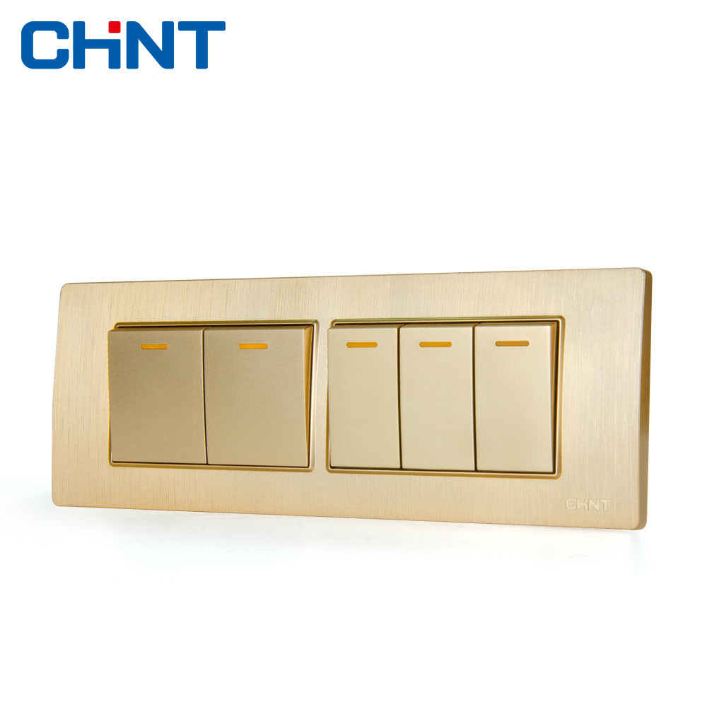 CHINT Electric 118 Type Photocell Light Switch NEW5D Embedded Steel Frame  Four Position Five Gang Two