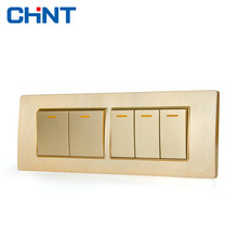 CHINT Electric 118 Type Photocell Light Switch NEW5D Embedded Steel Frame Four Position Five Gang Two Way