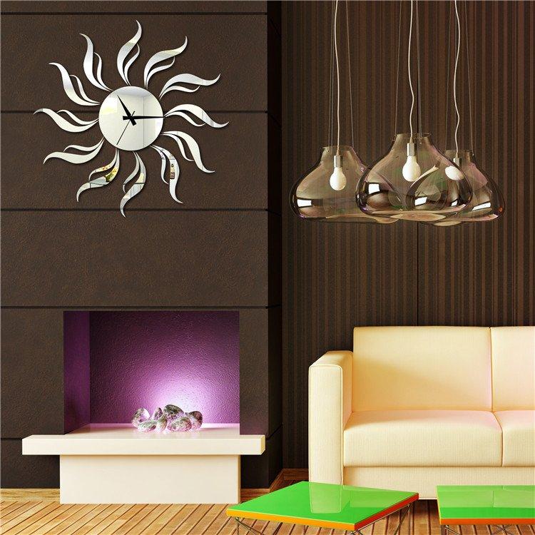 Glossy Stiker Bunga Matahari Jam Akrilik Jam Dinding Ruang