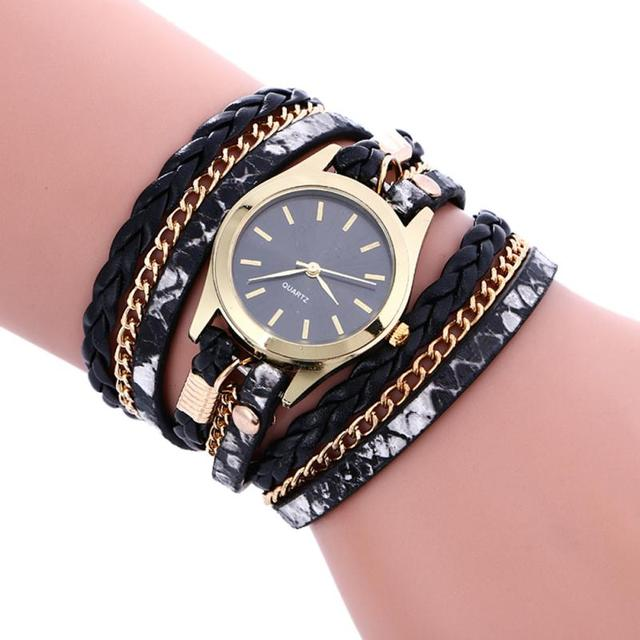 Luxury Weave Leather Bracelet Watches Women Fashion Ladies Elegant Quartz Wristw