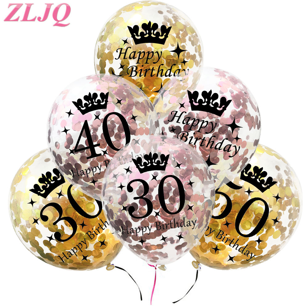 10Pcs Rose Gold 18 21st 30 40 50th Happy Birthday Crown Confetti Balloons Party