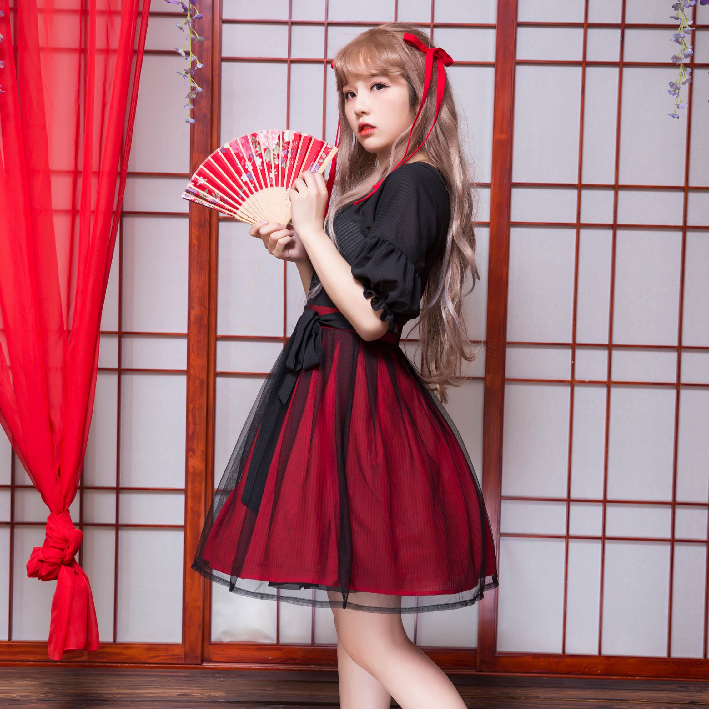 링 긴 tou (절묘한 주사위) 우아한 중국 전통 hanfu 블랙 + 레드 드레스 한 요소 짧은 소매 드레스 원피스-에서드레스부터 여성 의류 의  그룹 2