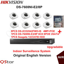 Hikvision Original English Indoor CCTV Security System 8pcs DS-2CD2542FWD-IS 4MP IP Camera POE+6MP Recording NVR DS-7608NI-E2/8P