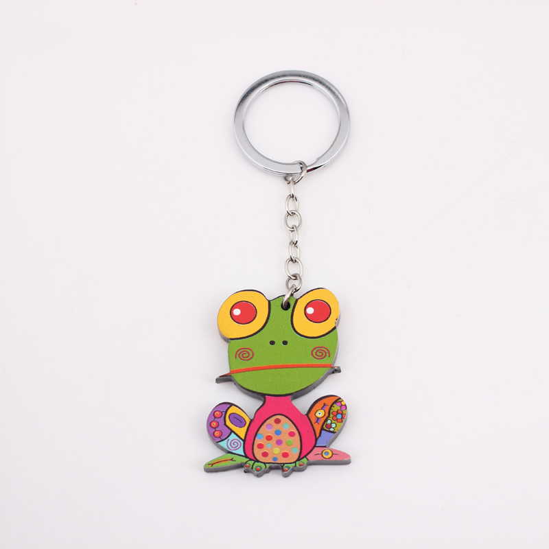 Bonsny Wholesale acrylic lovely frog green key chains for girls fashion cute animal new 2014 woman man gift beautiful keychain