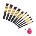 Mileegirl 10 Pcs Fundação Maquiagem Jogo de Escova de Contorno Da Sombra Sobrancelha Kwasten Escovas Profissionais com Esponja Puff Para Livre