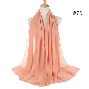 Image 5 - Malaisie Design instantané plaine bulle en mousseline de soie écharpe châles haute qualité Hijab musulman foulards 180*75 cm 47 couleurs