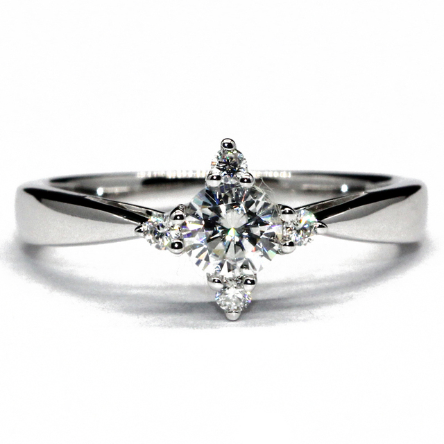 Slender Lady Wedding Engagement  Women Ring Star Cross 925 Sterling Silver 0.4ct Moissanite Lab Grown Diamond Silver Jewelry
