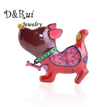 Cute Animal Dog Brooch for Women Fashion Metal Enamel Pin Girls Christmas Pins and Brooches Cartoon Bone New Year Gifts Jewelry