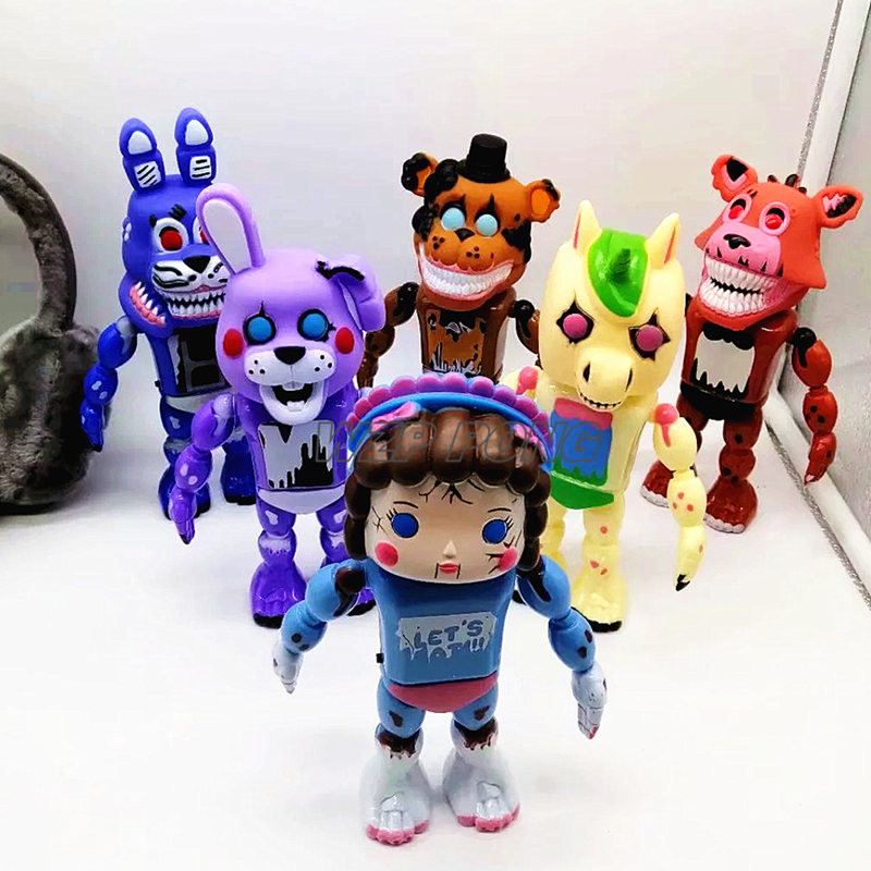 6 Pcs/set Lightening Movable Joints Five Nights At Freddy's Wholesale Toys Foxy Freddy Chica PVC Model Dolls Nightmare Kids Gift