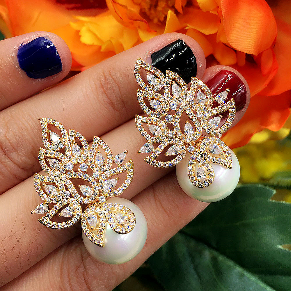 GODKI Imitation Pearl Leaf Collection Full Micro Cubic Zirco
