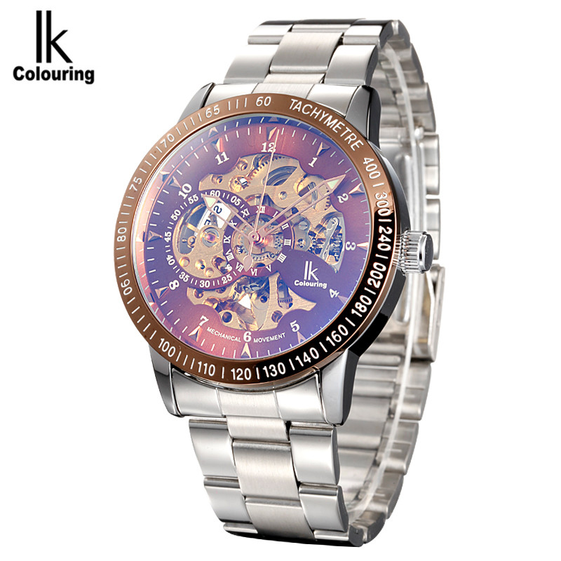 IK Coloring Watch 2017 Men's Allochroic Skeleton Gold Dial Auto Mechanical Wristwatch with Box Free Ship coloring of trees