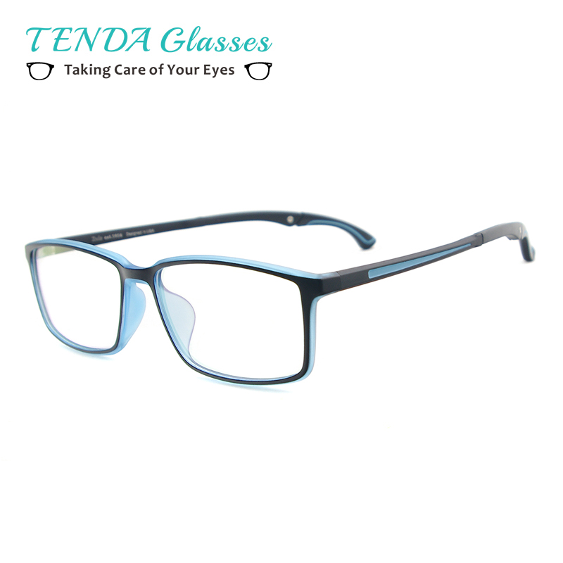 Men and Women Lightweight TR90 Spectacles Rectangular Sport Eyewear Frame With Anti Slip Holder For Multifocal Myopia Lenses