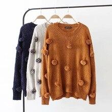 9375e6432b73 2018 cuello redondo invierno suéter tejido mujer linterna manga suelta  pulóver mujer casual jumper suave cálido otoño bola Decor.