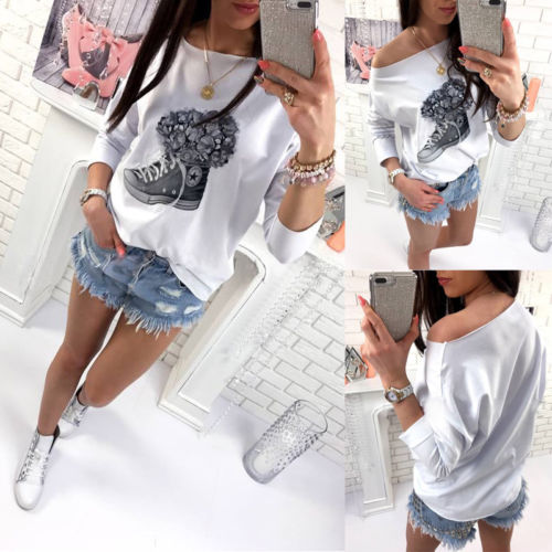 New Women's Loose Long Sleeve Cotton Casual T Shirt Tops Fashion T-shirt Autumn Clothes