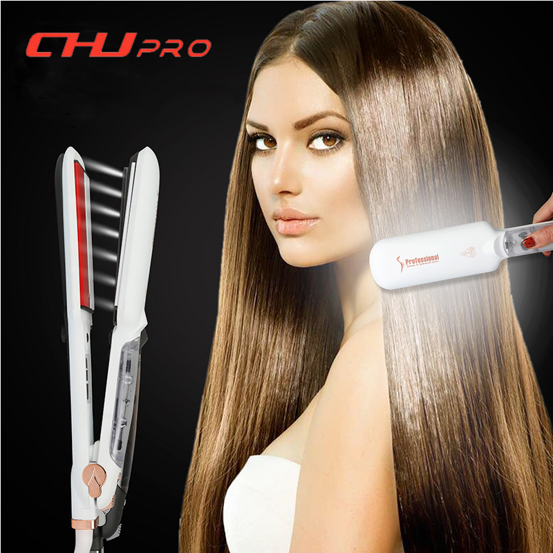 CHJ Professional Hair Straighteners Ultrasonic Infrared Hair Iron Ceramic Hair Flat Iron Vapor Chapinha Steam Hair Straightener chj hair straightener ceramic lcd display flat iron negative ion hair care hair iron chapinha curling irons styling tools