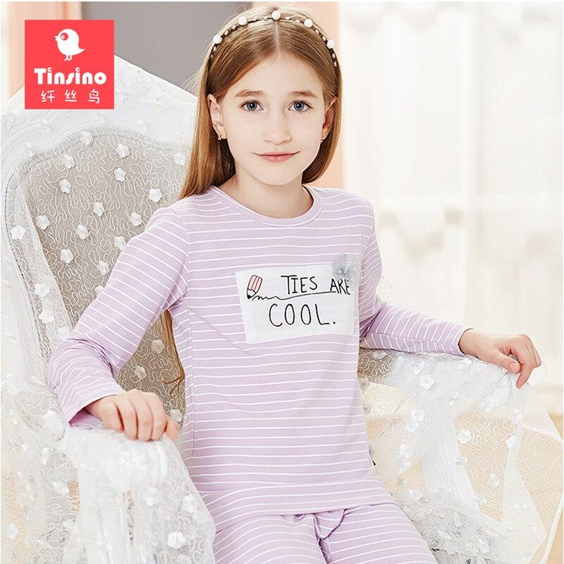 Tinsino Girls Autumn Pajama Sets Girl Long Sleeve Pajamas Kids Spring Sleepwear Children Clothing Set Girl